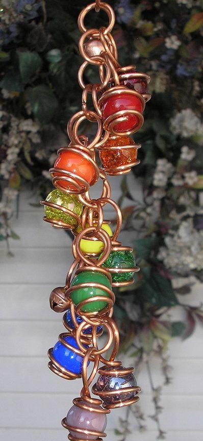 Double Rainbow Dragonfly Copper Glass Gypsy Wind Chimes / Windchime Garden Art Suncatcher Outdoor Yard