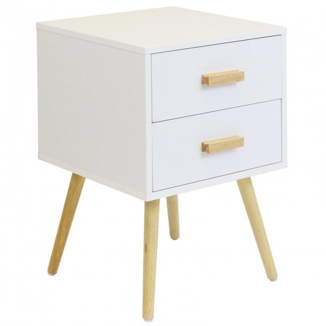 Hartleys 2 Drawer White Retro Bedside Table