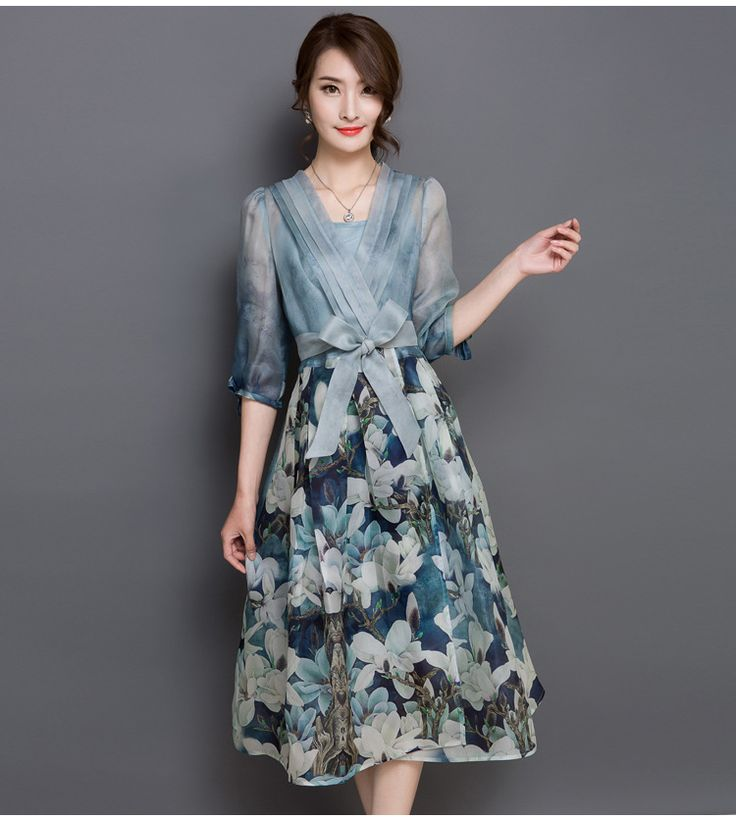 >>>The best placeNew Korea Top Fashion Women V Neck Printed Floral Chiffon Summer Dress 2 Piece Set Vintage Empire Long Maxi Dress Color Vestidos-in Dresses from Women's Clothing