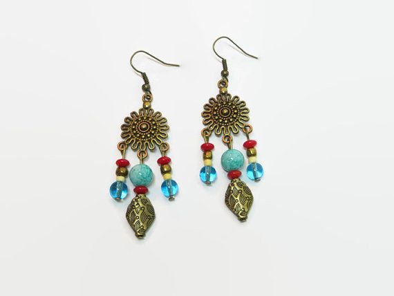 Colorful Boho Chandelier Earrings, Boho Beaded Dangle Earrings, Boho Chic Earrings, Bohemian Style Earrings Antique gold chandelier earrings with 3 drops of glass beads in turquoise, red, brown and yellow shades. Total hang length is approx. 3 inches.