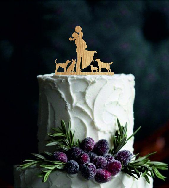 Silhouette Wedding Cake Topper Bride And Groom Cake Topper With A Dog O Wedding Cake Toppers Unique Wedding Cake Topper Silhouette Custom Wedding Cake Toppers