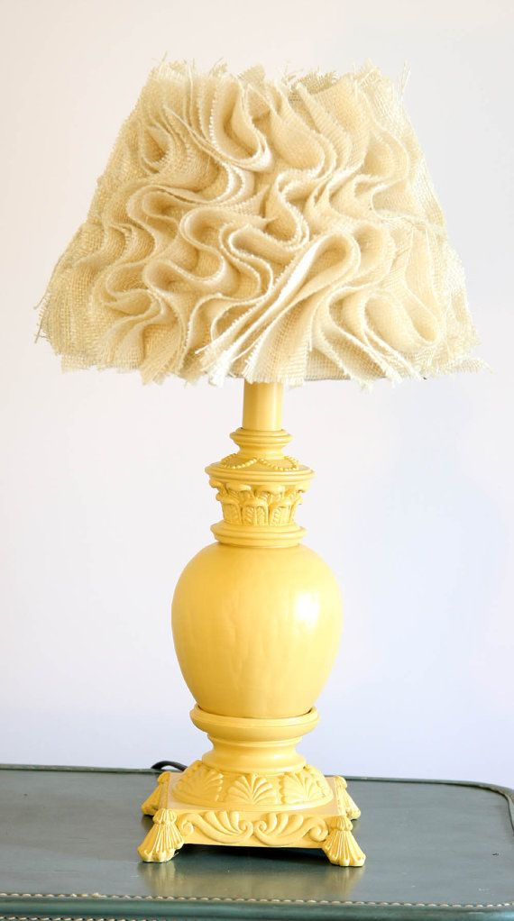 Yellow Lamp, Small Table Lamp, Upcycled Desk Lamp