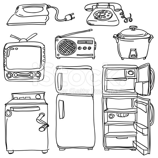 Coloring Page With The Electrician: 17 Best Images About Furniture,appliances,cookware On