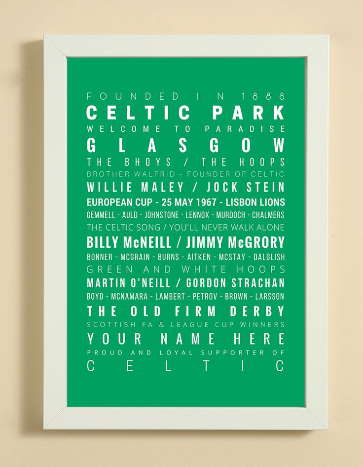 Celtic Football Club Word Art Design Print - Words, Names And Facts Associated With Celtic FC - In White Or Black A4 Box Frame