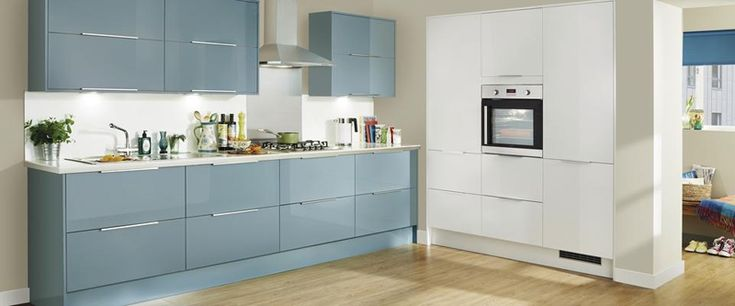 Howdens Greenwich Blue kitchen. Like blue as base unit colour, white for tall and wall cupboards. Quite like low profile handle.