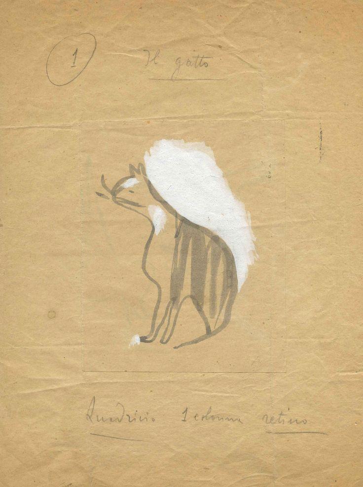 Aldo Bandinelli, Gatto seduto, 1940-1950, china su carta, 180 x 250 mm, Galleria civica di Modena, dono Eredi Bandinelli