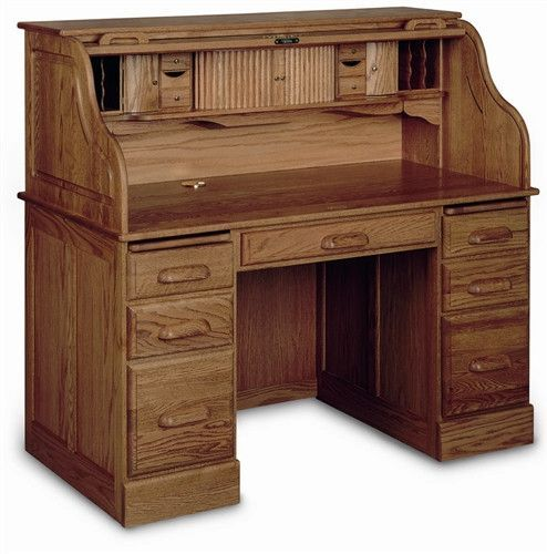 This heirloom-quality, solid wood desk is constructed here in the U.S.A. It offers a writing light, hand-detailed molding, drawers on ball-bearing slides (plus a file drawer), a rolltop hutch with ton