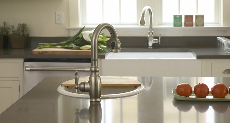 New Orleans Cottage Kitchen - Vinnata Kitchen Faucet and Porto Fino Bar Sink and Dinkinson Front Apron Sink  By KOHLER