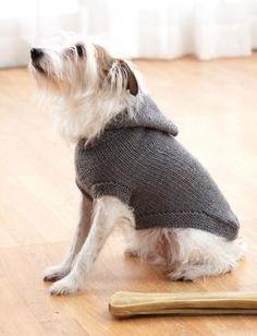 Стильное худи с капюшоном для собачки предлагается вязать из акриловой пряжи серого цвета.Описание подойдет как для питомцев миниатюрных размеров...