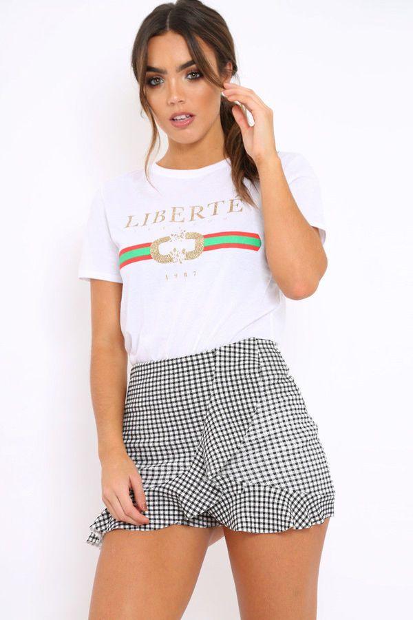 1820aa0b WOMEN LADIES LIBERTIE QUEEN GUILTY BONJOUR Slogan Striped Print T-Shirts  Top#QUEEN#GUILTY#LIBERTIE