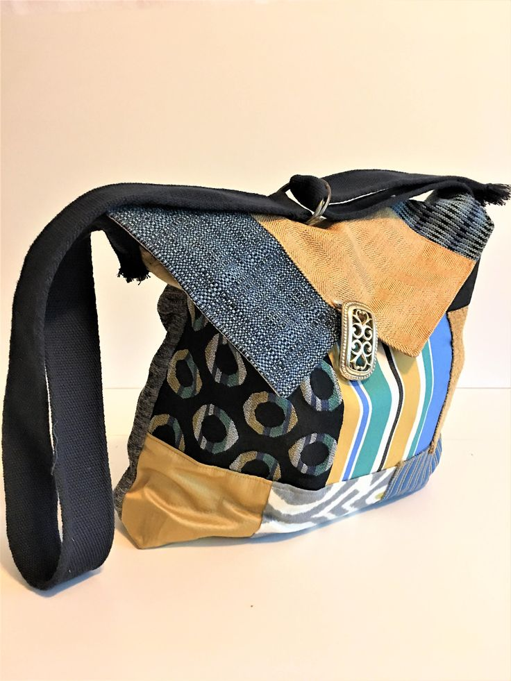 Crossbody Satchel - Patchwork Bag - Crossbody Bag - Fabric Bags - Blue and Gold - Adjustable Strap - Eco Friendly Bag - Large Size Bag by BellesabyBethany on Etsy