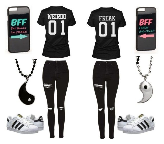 """Bests friends :D"" by fariha2003 ❤ liked on Polyvore featuring Topshop, adidas Originals and JFR"