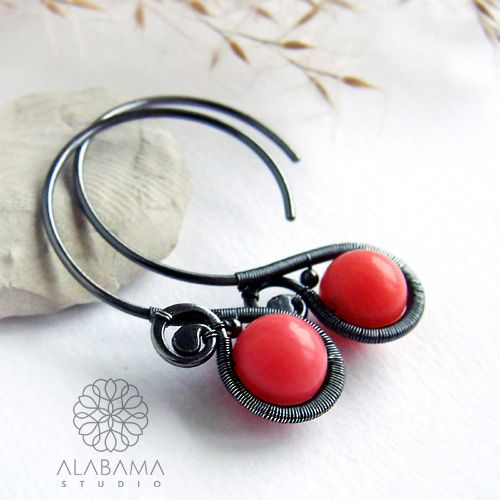 ALABAMA - Minimal PINK - srebrne kolczyki z różowym koralem   #polandhandmade, #alabama, #wirewrapping, #earrings, #coral, #christmas, #gift, #pink, #minimalistic, #modern, #santaiscoming