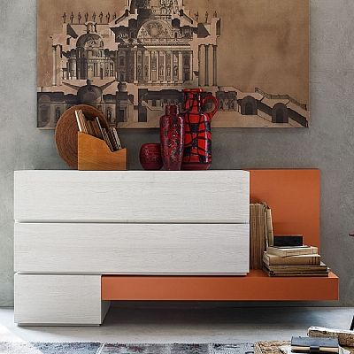 Orange and white wooden 'Avril' wall unit/. Bright, flamboyant orange and white. Amazing, ultramodern piece. My Italian Living.