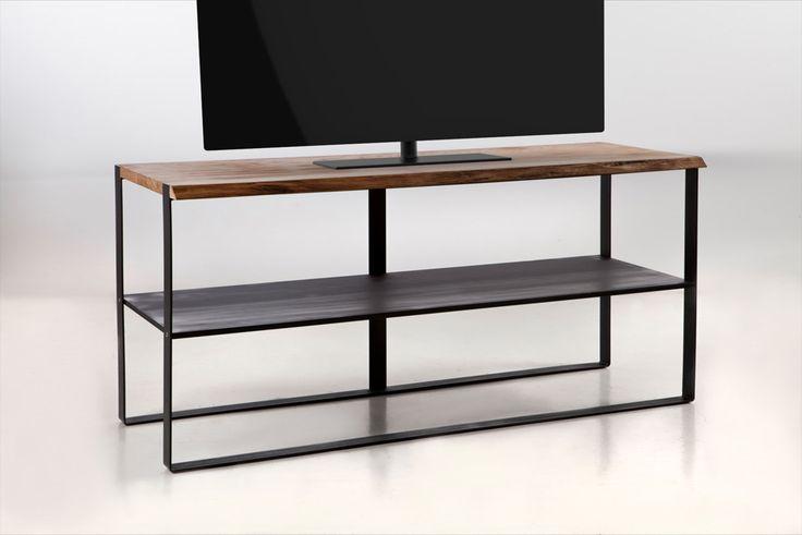 """Console porta TV in ferro e rovere """"live edge"""" Iron and oak """"live edge"""" TV stand"""