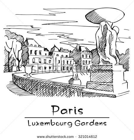 Paris. Luxembourg Gardens.  Hand-drawing. Image - one combined object
