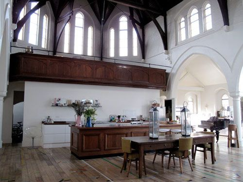 Fantastic home made from an old church. The kitchen counter is the alter here, therefor the food needs to be heavenly!
