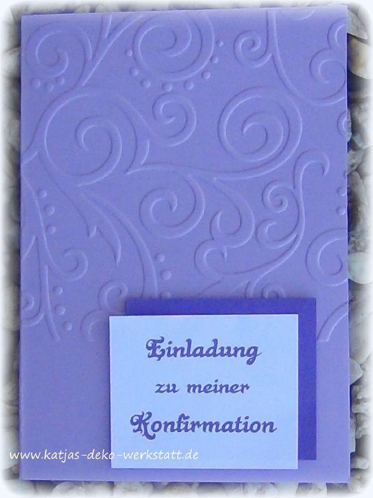 Einladungskarte Kommunion Konfirmation Taufe Firmung Hochzeit Jugendweihe  Mit Ornamentprägung Lila