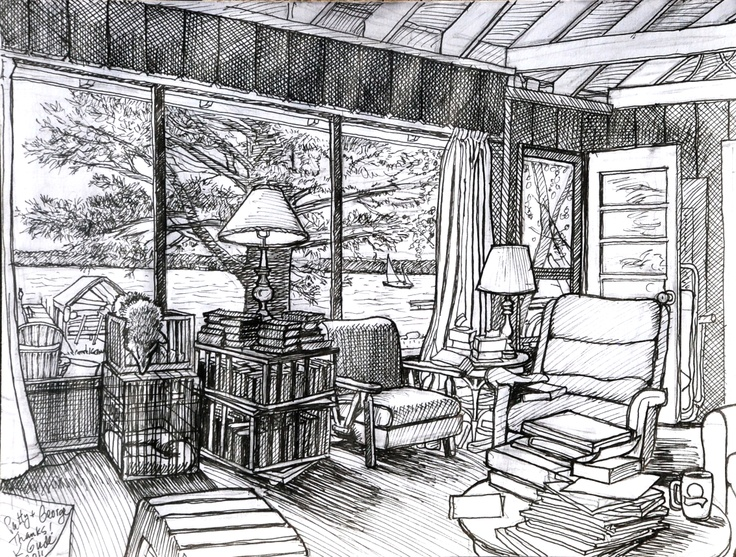 Marker drawing I did while staying at a friend's cabin on a lake. 2011 --Karl Gude