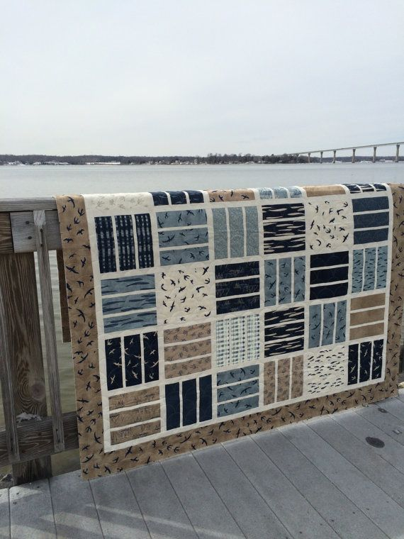 Nautical Neutral Couch Quilt- **Free Shipping** -Hearty Good Wishes- Navy/Blue/Cream/Tan