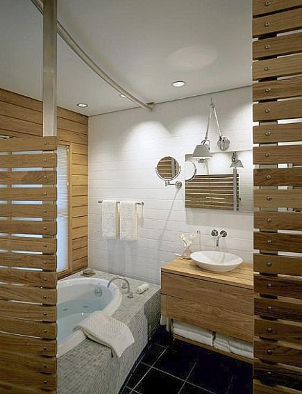 modern bathroom with horizontal wooden plank walls and double sink vanity