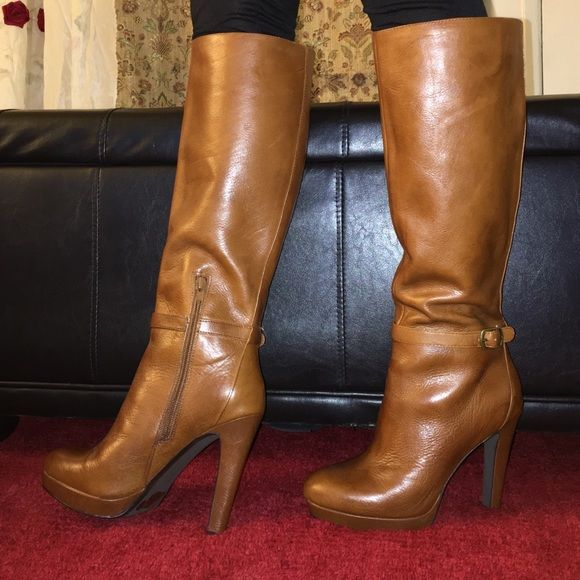 high heels boots size 7m color light brown shops