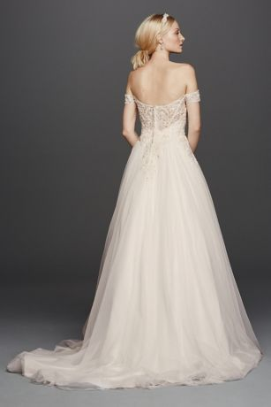 Oleg cassini off the shoulder tulle wedding dress style for Wedding dress with swag sleeves