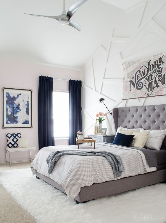 Modern Glam Bedroom with Gray Tufted Headboard -- lilac grey and blue color palette
