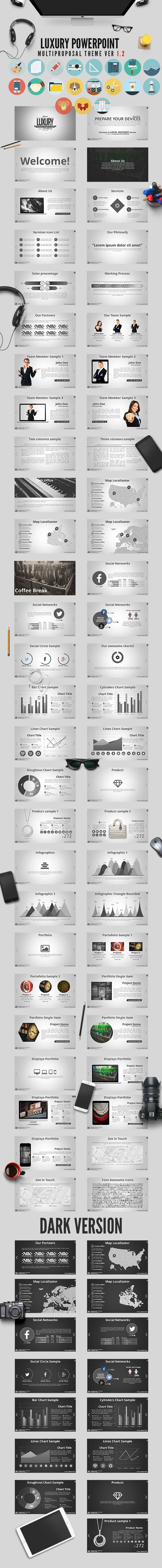 Luxury PowerPoint Theme Ver 1.2 — Powerpoint PPTX #displays #elegant • Available here → https://graphicriver.net/item/luxury-powerpoint-theme-ver-12/7569038?ref=pxcr