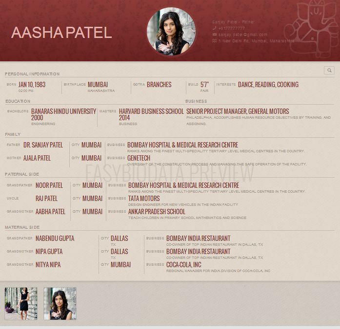 Biodata for Marriage Format for Woman created with www.easybiodata.com.