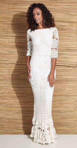 bbb147dd0 Vestido de noiva de crochê com gráfico | vestido crochê | Vestido de ...