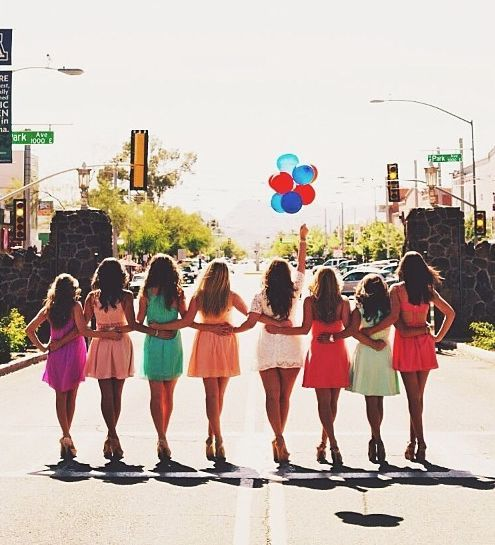 A fabulous bridal party photo ~ after the rehearsal dinner or during the bachelorette party?