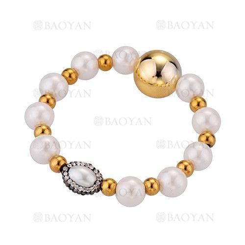 pulsera de perla mezlca bola dorado acero inoxidable -SSBTG504348