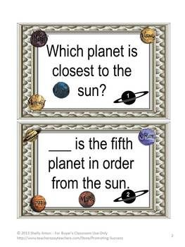 Science Task Cards Planets - Here is a set of 50 task cards for your students to discover information about our planets.