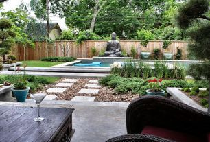 Asian Landscape/Yard with 18 in. x 18 in. Concrete Step Stone, Native River Rock, Thai Buddha Garden Statue by Alfresco Home