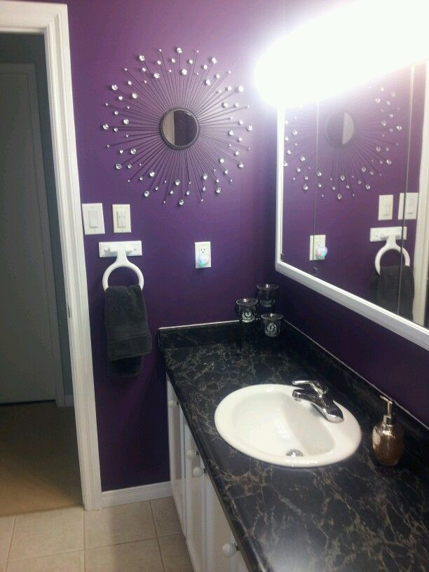 Purple bathroom things i redid pinterest purple bathrooms bathroom and mirror Purple and black bathroom ideas
