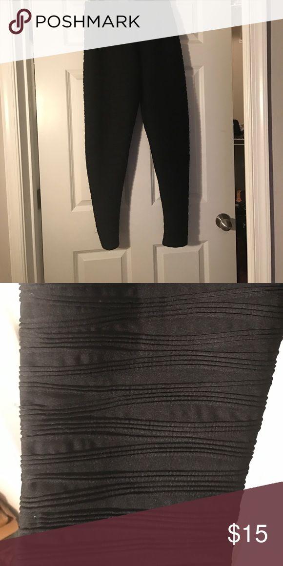 Black Asos leggings Asos black rippled leggings size 16 Pants Leggings