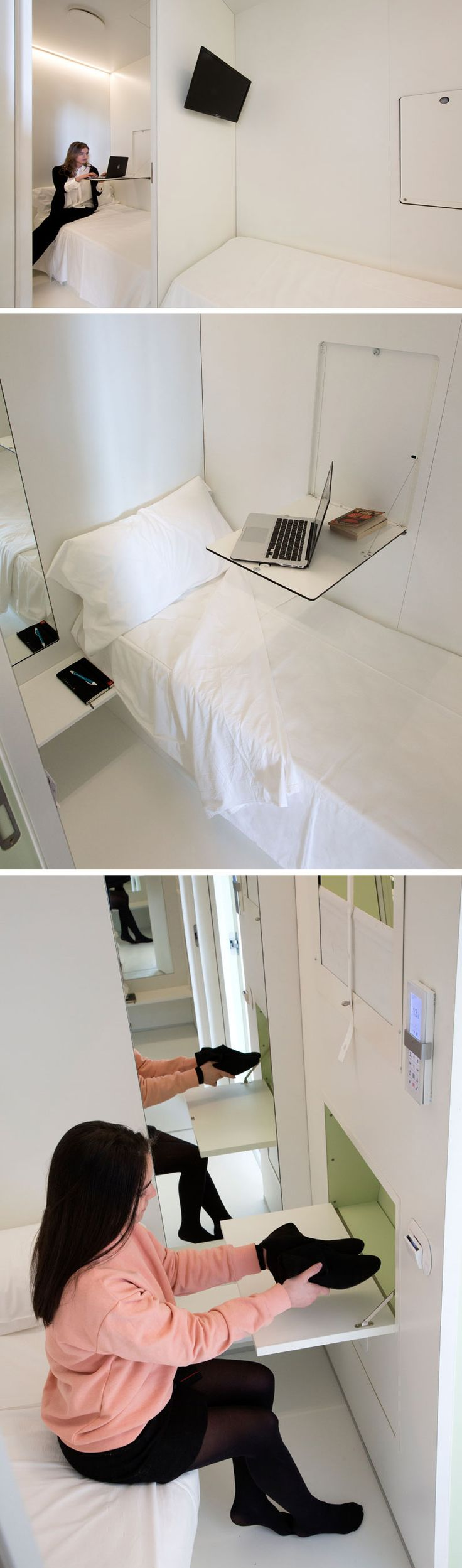 The capsule hotel rooms inside BenBo in Naples, Italy, are just 4 square meters and have soundproof walls, an automatic door, a window with blinds, a drop down table/desk, a television, a mirror, hangers, and a shoe storage compartment.
