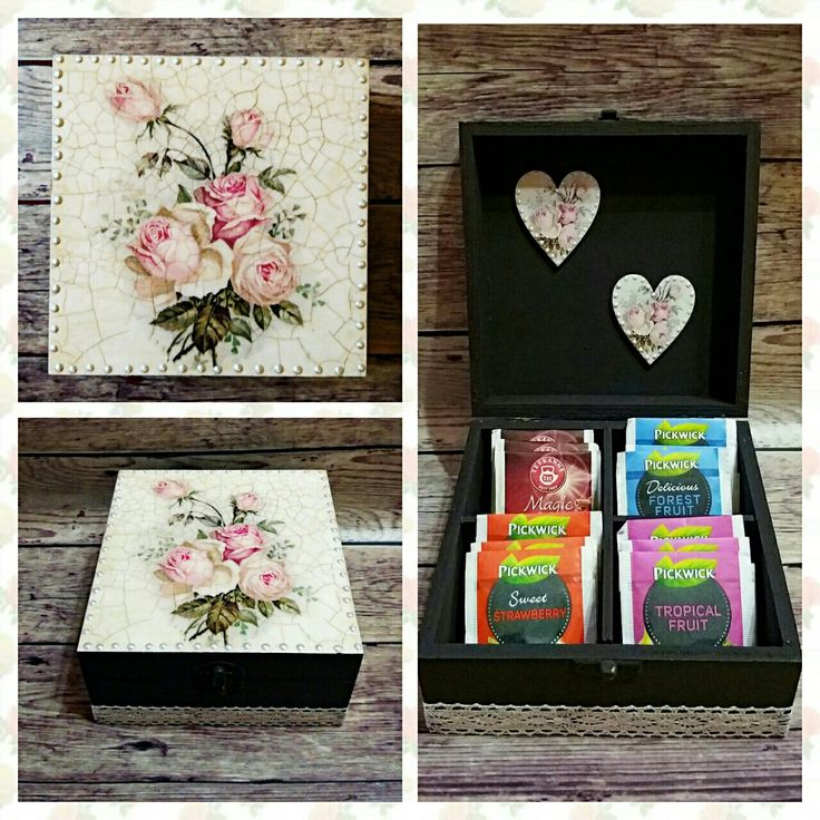 Roses tea box decoupage Handmade