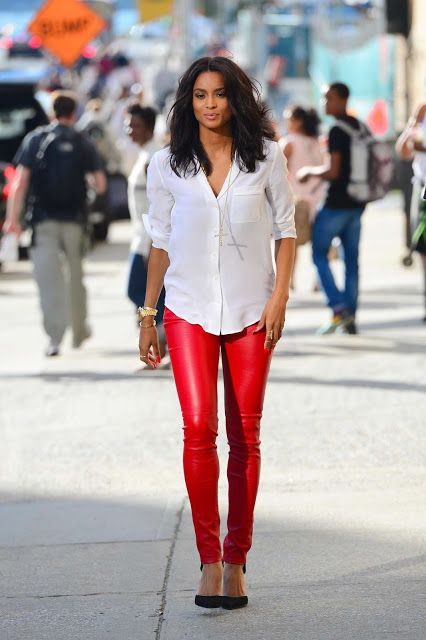 Get Her Look: Ciara in Red Leather Pants #CIARA