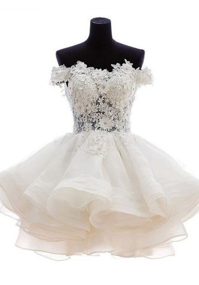Cute A-line Off-the-shoulder White Mini Prom Ball Gown Homecoming Dress (ED1009)