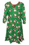 Sara's Prints Girls Green Santa Claus Print Christmas Nightgown