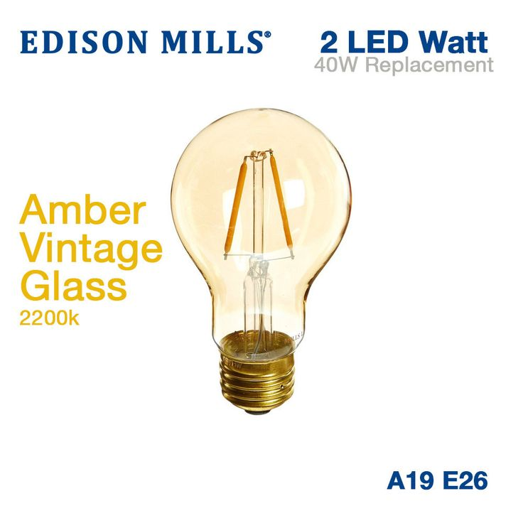 Edison Mills A19 Victorian LED Filament Light Bulb 2W 2200K Vintage Amber Glass