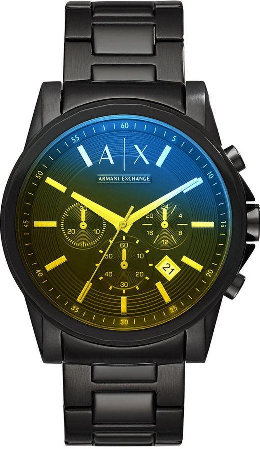 AX Armani Exchange Men's Chronograph Black Stainless Steel Bracelet Watch 45mm #men #fashion #male #style #menfashion #menwear #menstyle Klick to see the Price