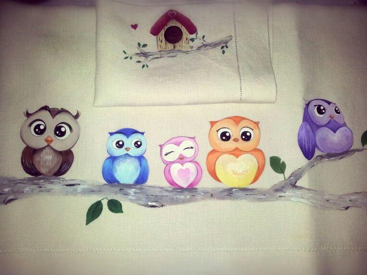Lenzuolino dipinto a mano Owls - civette dipinte su stoffa