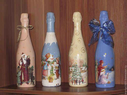 Украшение бутылок на новый год декупаж