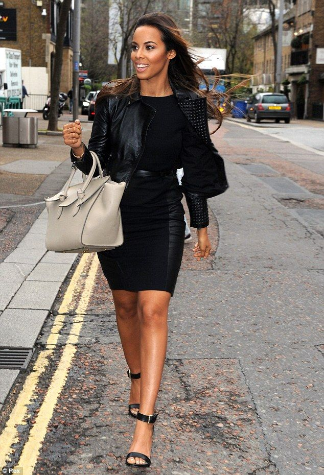Looking good: Rochelle Humes of The Saturdays cuts a stylish figure outside ITV studios, L...