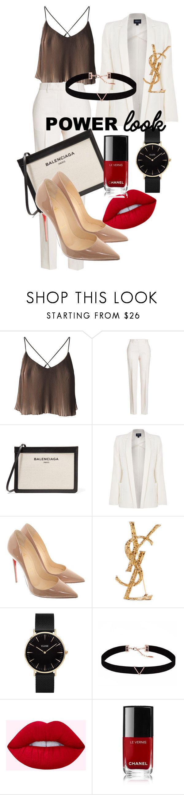 """""""Power look"""" by irma-suharto ❤ liked on Polyvore featuring Jil Sander, Balenciaga, Armani Jeans, Christian Louboutin, Yves Saint Laurent, CLUSE, Astrid & Miyu and Chanel"""