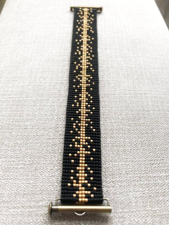 Miyuki Perlenarmband schwarz und gold / Perlenarmband / – Schmuck armband