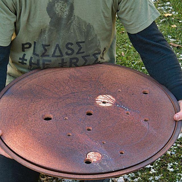 Big big big! Would you guess how big?  Custom ordered gongfu tea table by #mirkarandova #potsandtea #teatable #gongfucha #pleasethetrees #stoneware #woodfired  #陶艺 #柴烧茶盘 #茶盘